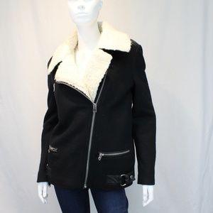 TopShop Black Shearling Jacket